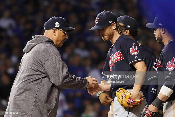 Manager Terry Francona of the Cleveland Indians relieved Josh Tomlin in the fifth inning against the Chicago Cubs in Game Three of the 2016 World...