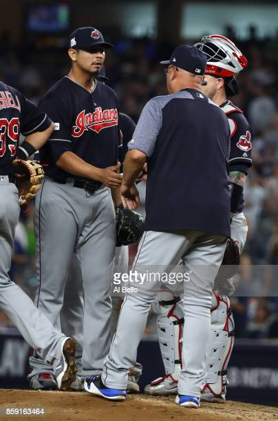 Manager Terry Francona of the Cleveland Indians relieves starting pitcher Carlos Carrasco during the sixth inning against the New York Yankees in...