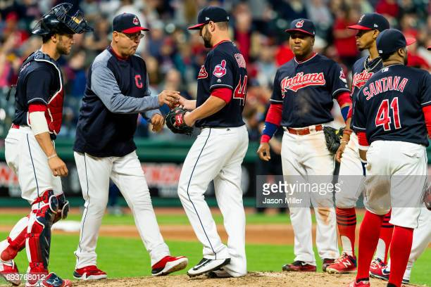 Manager Terry Francona of the Cleveland Indians removes relief pitcher Nick Goody during the ninth inning against the Houston Astros at Progressive...