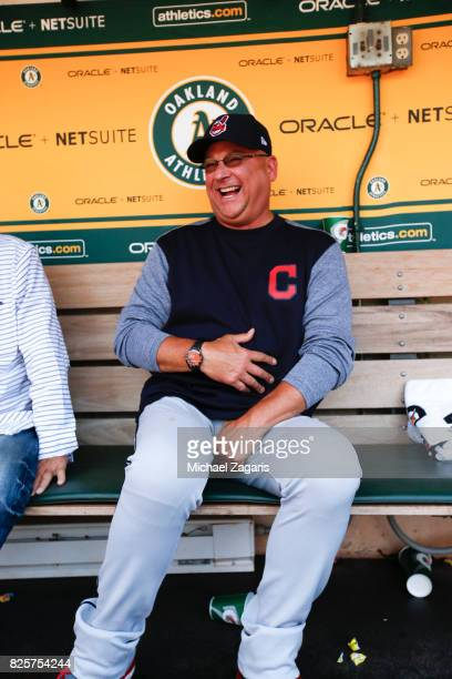 Manager Terry Francona of the Cleveland Indians sits in the dugout prior to the game against the Oakland Athletics at the Oakland Alameda Coliseum on...