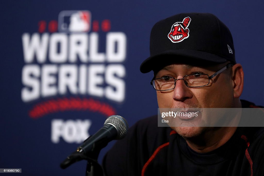 Manager Terry Francona of the Cleveland Indians speaks to the media after after the Chicago Cubs beat the Cleveland Indians 3-2 in Game Five of the 2016 World Series at Wrigley Field on October 30, 2016 in Chicago, Illinois.