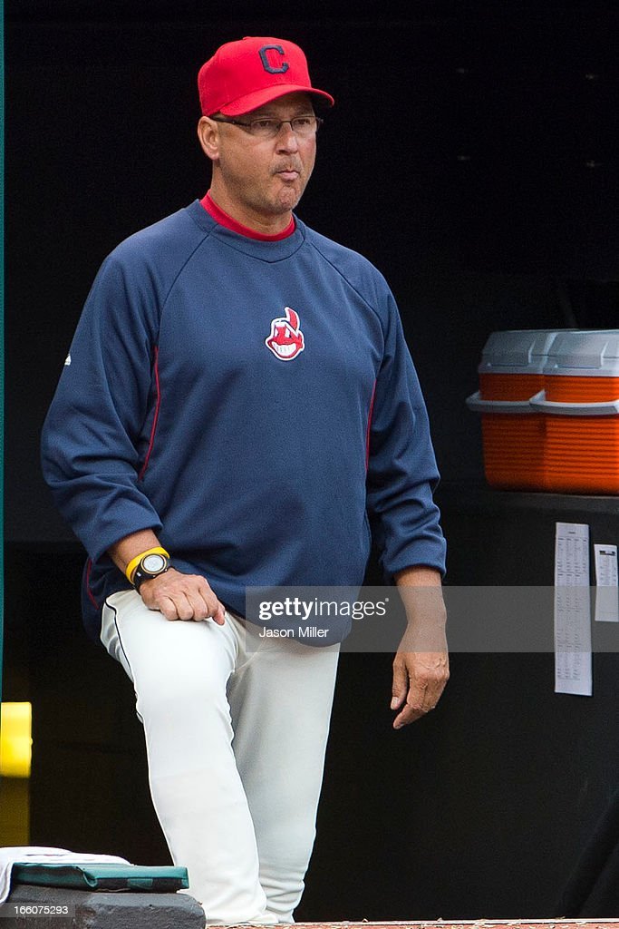 Manager Terry Francona #17 of the Cleveland Indians stands in the dugout during the third inning against the New York Yankees on opening day at Progressive Field on April 8, 2013 in Cleveland, Ohio.