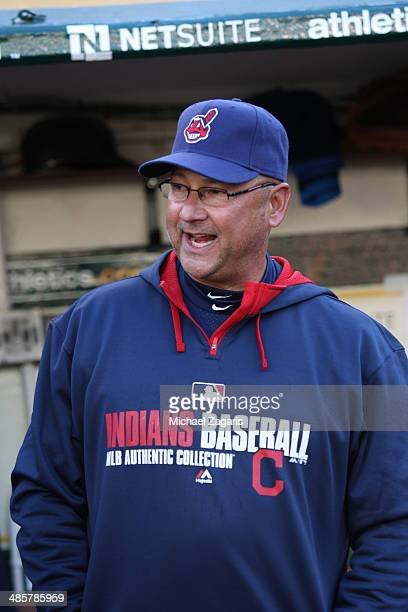 Manager Terry Francona of the Cleveland Indians stands in the dugout prior to the game against the Oakland Athletics at Oco Coliseum on April 2 2014...
