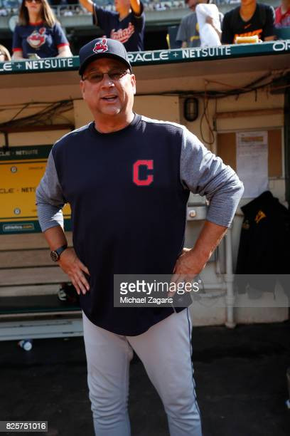 Manager Terry Francona of the Cleveland Indians stands in the dugout prior to the game against the Oakland Athletics at the Oakland Alameda Coliseum...