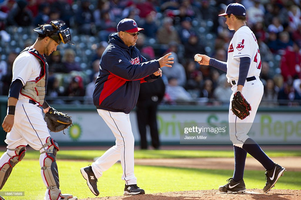 Manager <a gi-track='captionPersonalityLinkClicked' href=/galleries/search?phrase=Terry+Francona&family=editorial&specificpeople=171936 ng-click='$event.stopPropagation()'>Terry Francona</a> #17 of the Cleveland Indians take starting pitcher Trevor Bauer #47 of the Cleveland Indians out of the game in the sixth inning against the New York Yankees during the second game of a doubleheader at Progressive Field on May 13, 2013 in Cleveland, Ohio.