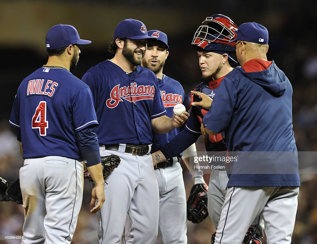 Manager <a gi-track='captionPersonalityLinkClicked' href=/galleries/search?phrase=Terry+Francona&family=editorial&specificpeople=171936 ng-click='$event.stopPropagation()'>Terry Francona</a> #17 of the Cleveland Indians takes pitcher T.J. House #58 of the Cleveland Indians out of the game during the sixth inning of the game against the Minnesota Twins on August 20, 2014 at Target Field in Minneapolis, Minnesota. The Indians defeated the Twins 5-0.