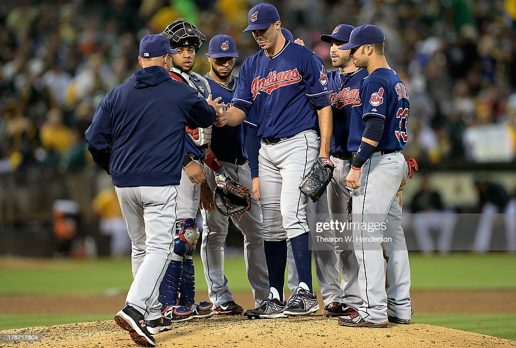 Manager <a gi-track='captionPersonalityLinkClicked' href=/galleries/search?phrase=Terry+Francona&family=editorial&specificpeople=171936 ng-click='$event.stopPropagation()'>Terry Francona</a> #17 of the Cleveland Indians takes the ball from pitcher <a gi-track='captionPersonalityLinkClicked' href=/galleries/search?phrase=Ubaldo+Jimenez&family=editorial&specificpeople=2539590 ng-click='$event.stopPropagation()'>Ubaldo Jimenez</a> #30 taking him out of the game in the sixth inning against the Oakland Athletics at O.co Coliseum on August 17, 2013 in Oakland, California. Jimenez had just given up his first hit and run of the game but had thrown over a 100 pitches.