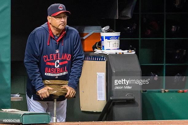 Manager Terry Francona of the Cleveland Indians watches from the dugout during the seventh inning against the Minnesota Twins at Progressive Field on...