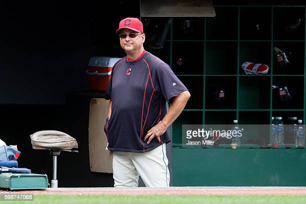 Manager Terry Francona of the Cleveland Indians watches from the dugout during the fourth inning against the Boston Red Sox at Progressive Field on...