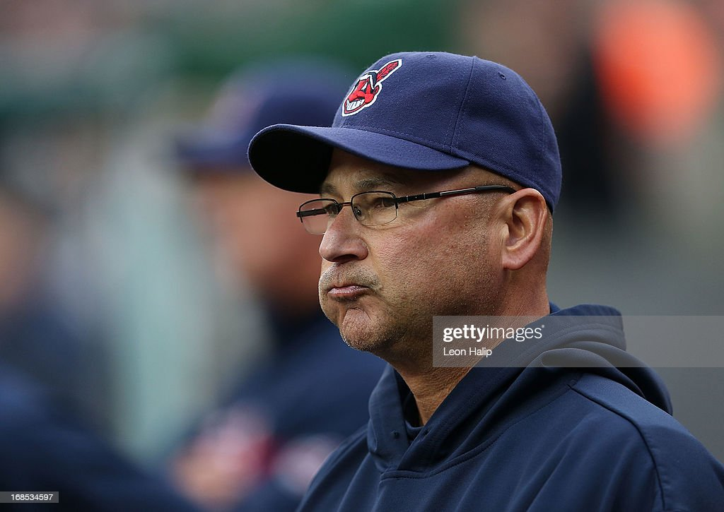 Manager <a gi-track='captionPersonalityLinkClicked' href=/galleries/search?phrase=Terry+Francona&family=editorial&specificpeople=171936 ng-click='$event.stopPropagation()'>Terry Francona</a> #17 of the Cleveland Indians watches the action during the game against the Detroit Tigers at Comerica Park on May 10, 2013 in Detroit, Michigan. The Tigers defeated the Indians 10-4.