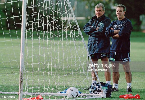 Manager Terry Venables and physiotherapist Dave Butler at a training session of the England national football team at the Bisham Abbey sports centre...