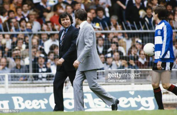 QPR manager Terry Venables chats to Spurs mananger Keith Burkinshaw as the teams enter the field before the 1982 FA Cup Final between Queens Park...