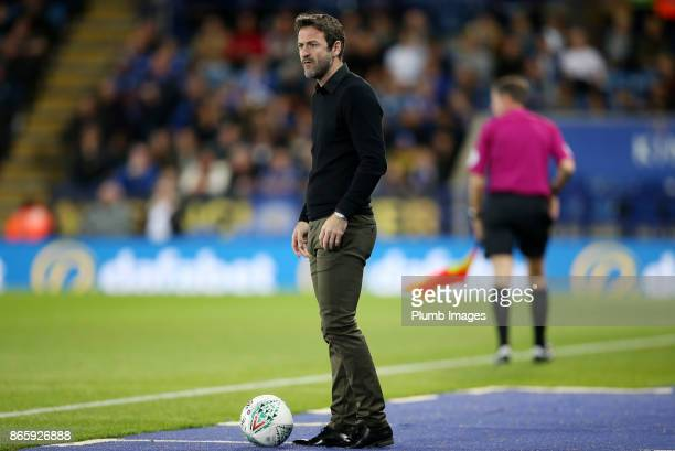 Manager Thomas Christiansen of Leeds United during the Carabao Cup match between Leicester City and Leeds United at King Power Stadium on October...
