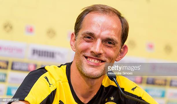 Manager Thomas Tuchel during a press conference to the media at the team hotel Grand Resort Bad Ragaz on July 20 2015 in Bad Ragaz Switzerland