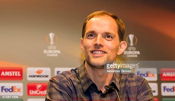 Manager Thomas Tuchel of Dortmund during press conference prior to the Europa League match between Borussia Dortmund and FC Porto at the Signal Iduna...