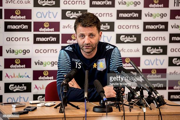 Manager Tim Sherwood of Aston Villa talks during a press conference at Bodymoor Heath training ground on March 02 2015 in Birmingham England
