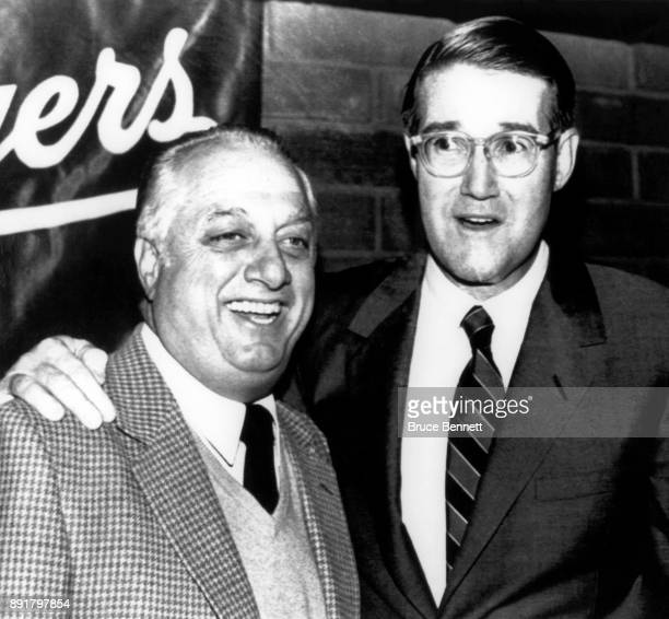 Manager Tommy Lasorda of the Los Angeles Dodgers is all smiles after owner Peter O'Malley gave him a threeyear contract on October 20 1983 at Dodger...