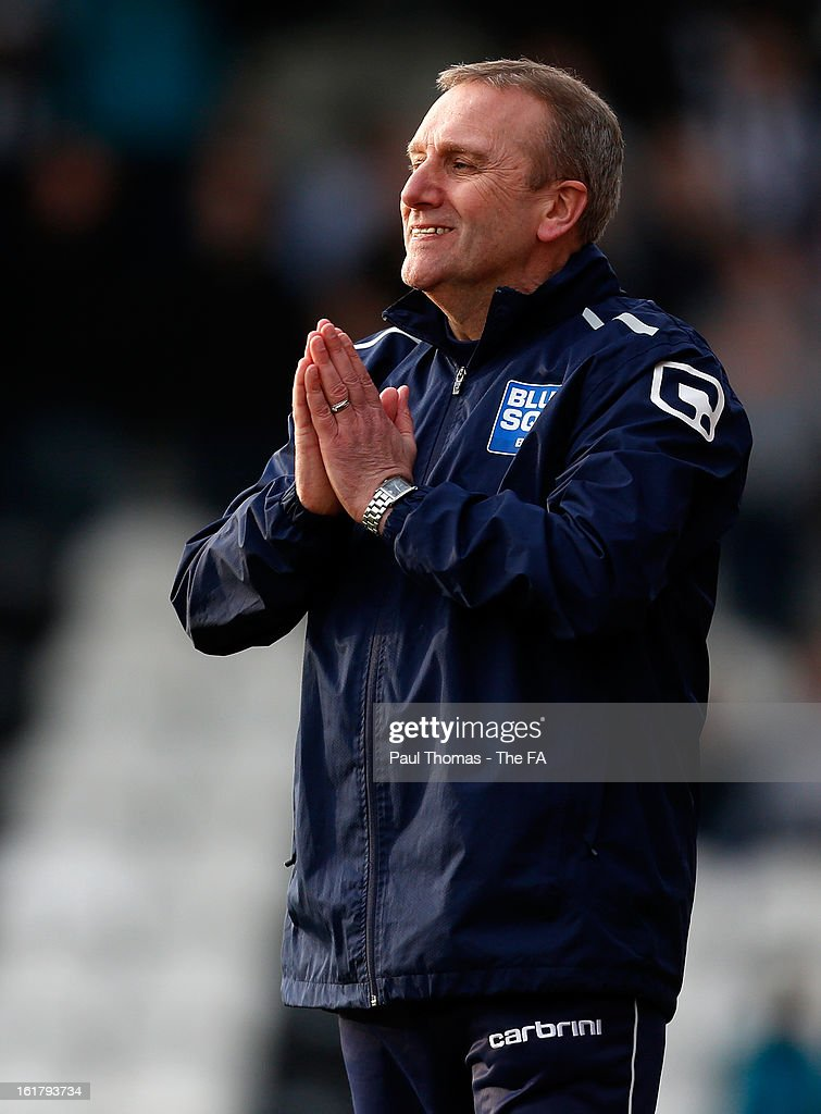 Manager Tony Burman of Dartford reacts during the FA Trophy semi final match between Grimsby Town v Dartford at Blundell Park on February 16, 2013 in Grimsby, England.
