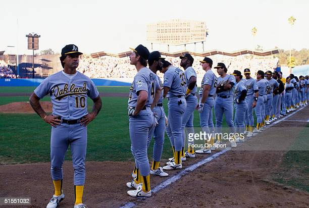 Manager Tony LaRussa of the Oakland Athletics and the rest of the A's line up for player introductions during game 2 of the World Series against the...