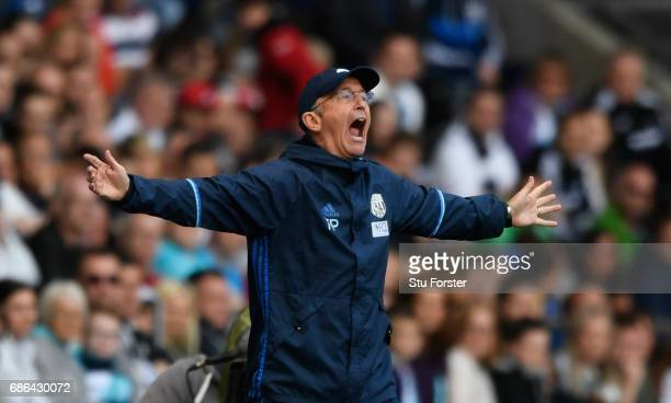 WBA manager Tony Pulis reacts during the Premier League match between Swansea City and West Bromwich Albion at Liberty Stadium on May 21 2017 in...