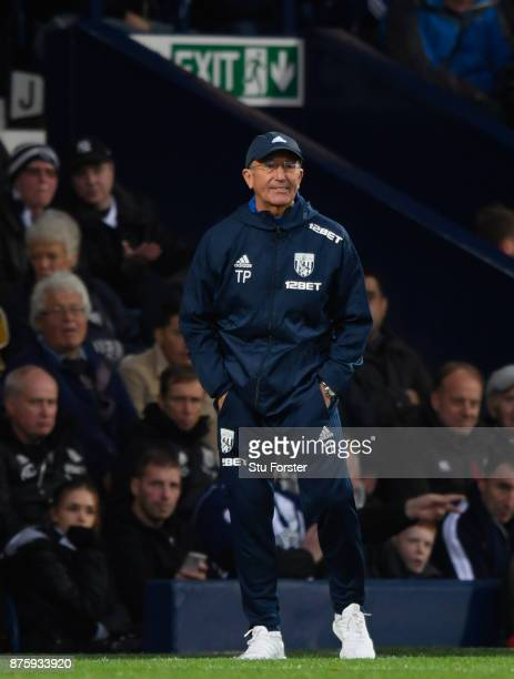 WBA manager Tony Pulis reacts during the Premier League match between West Bromwich Albion and Chelsea at The Hawthorns on November 18 2017 in West...