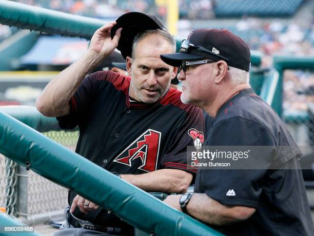 Manager Torey Lovullo of the Arizona Diamondbacks talks with bench coach Ron Gardenhire of the Arizona Diamondbacks during the second inning of a...