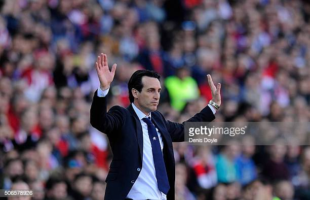 Manager Unai Emery of Sevilla FC reacts during the La Liga match between Club Atletico de Madrid and Sevilla FC at Vicente Calderon Stadium on...