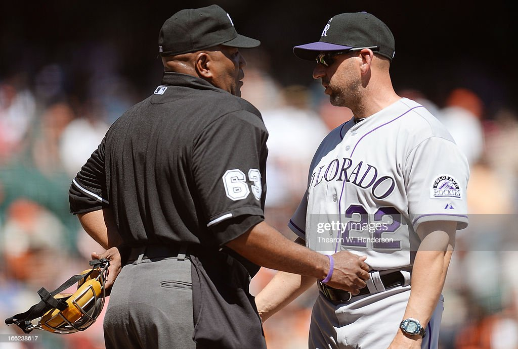 Manager <a gi-track='captionPersonalityLinkClicked' href=/galleries/search?phrase=Walt+Weiss&family=editorial&specificpeople=239045 ng-click='$event.stopPropagation()'>Walt Weiss</a> #22 of the Colorado Rockies argues with home plate umpire <a gi-track='captionPersonalityLinkClicked' href=/galleries/search?phrase=Laz+Diaz&family=editorial&specificpeople=541436 ng-click='$event.stopPropagation()'>Laz Diaz</a> #63 over a called strike three on Troy Tulowitzki #2 against the San Francisco Giants in the first inning at AT&T Park on April 10, 2013 in San Francisco, California.