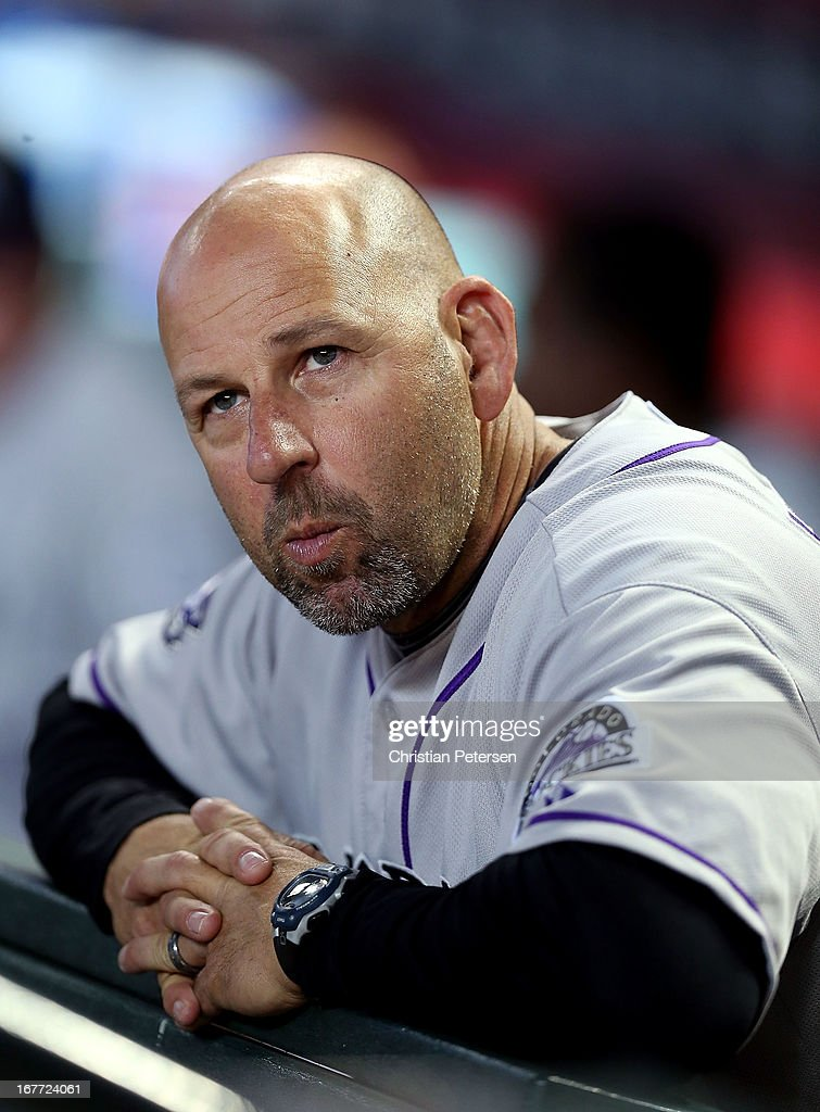 Manager <a gi-track='captionPersonalityLinkClicked' href=/galleries/search?phrase=Walt+Weiss&family=editorial&specificpeople=239045 ng-click='$event.stopPropagation()'>Walt Weiss</a> #22 of the Colorado Rockies watches from the dugout during the MLB game against the Arizona Diamondbacks at Chase Field on April 27, 2013 in Phoenix, Arizona.