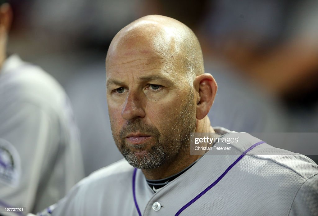 Manager <a gi-track='captionPersonalityLinkClicked' href=/galleries/search?phrase=Walt+Weiss&family=editorial&specificpeople=239045 ng-click='$event.stopPropagation()'>Walt Weiss</a> #22 of the Colorado Rockies watches from the dugout during the MLB game against the Arizona Diamondbacks at Chase Field on April 28, 2013 in Phoenix, Arizona.
