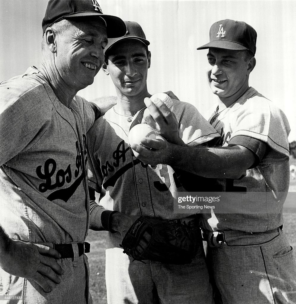 Manager Walter 'Smokey' Alston, Sandy Koufax and Johnny Podres of the Los Angeles Dodgers during Spring Training circa 1962 at Dodgertown Vero Beach, Florida.