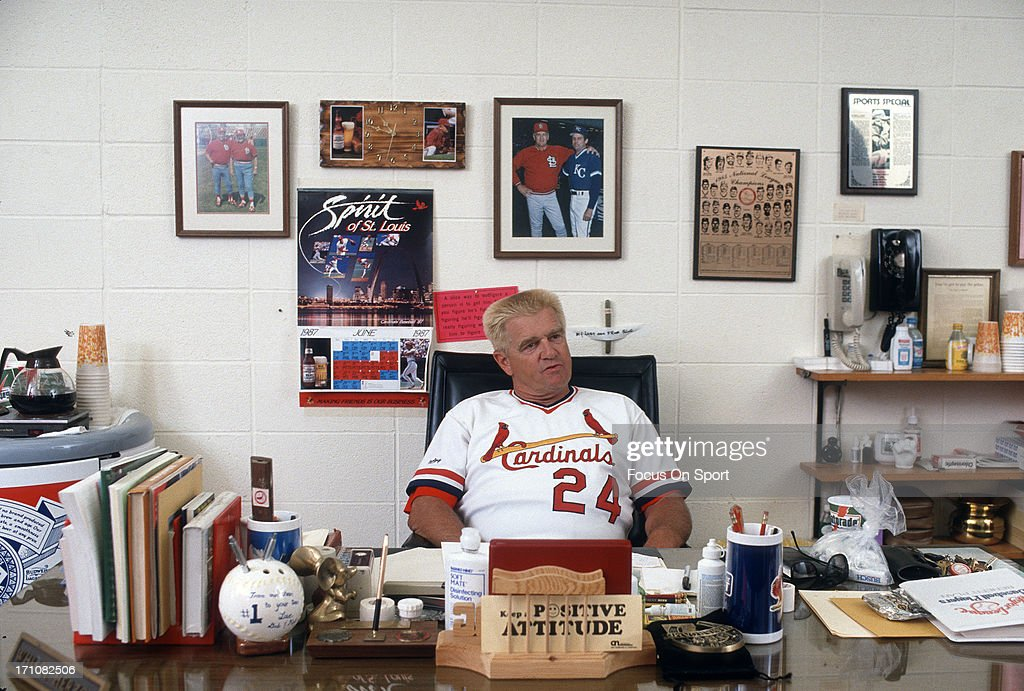 Manager Whitey Herzog of the St Louis Cardinals sits at his desk in his office before a Major League Baseball game circa 1985 at Busch Stadium in St...