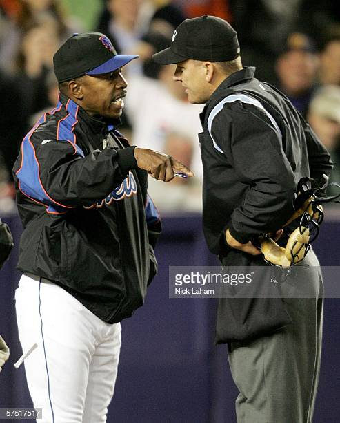 Manager Willie Randolph of the New York Mets argues with home plate umpire Jeff Nelson after being thrown out in the bottom of the seventh against...