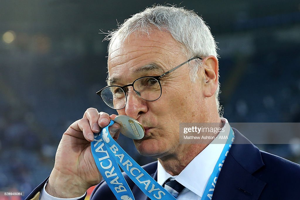 Manager/Head Coach of Leicester City Claudio Ranieri kisses his Premier League Winners medal as Leicester City celebrate becoming Premier League...