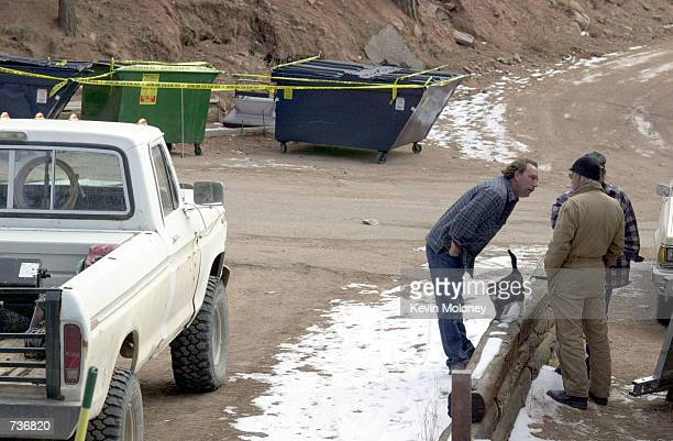 Managers and residents of the Coachlight RV park in Woodland Park CO where seven Texas prison escapees had stayed for three weeks chat in front of...