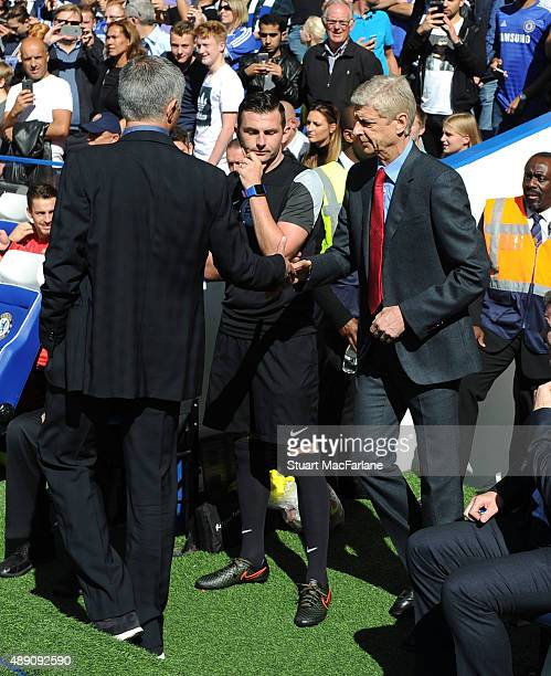 Managers Arsene Wenger of Arsenal and Jose Mourinho of Chelsea shake hans before the Barclays Premier League match between Chelsea and Arsenal on...