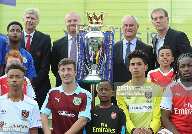 Managers Arsene Wenger of Arsenal Sean Dyche of Burnley Claudio Ranieri of Leicester City and Slaven Bilic of West Ham United attend the Premier...
