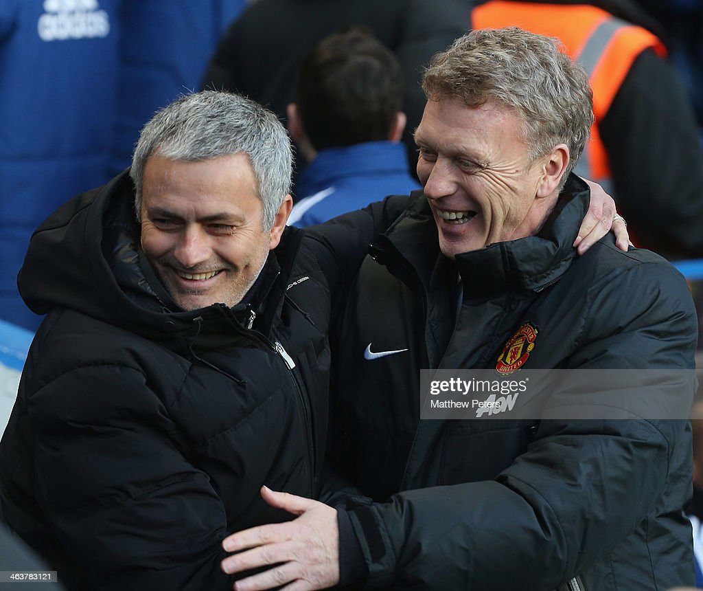 Managers <a gi-track='captionPersonalityLinkClicked' href=/galleries/search?phrase=David+Moyes&family=editorial&specificpeople=215482 ng-click='$event.stopPropagation()'>David Moyes</a> of Manchester United and Jose Mourinho of Chelsea greet ahead of the Barclays Premier League match between Chelsea and Manchester United at Stamford Bridge on January 19, 2014 in London, England.