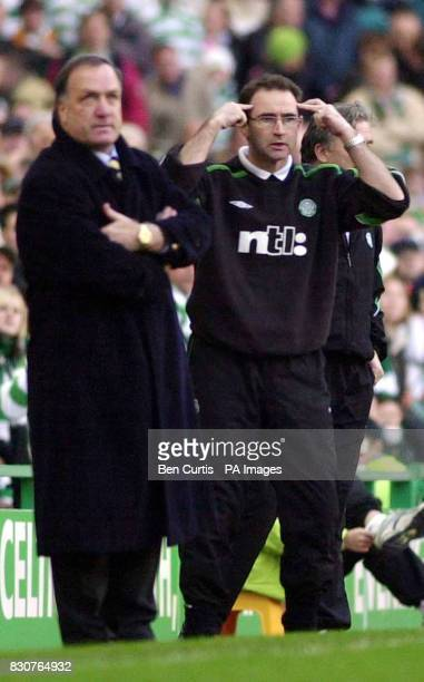 Managers Dick Advocaat and Martin O'Neill at today's Celtic v Rangers Old Firm match in the Scottish Premier League at Celtic Park in Glasgow Final...