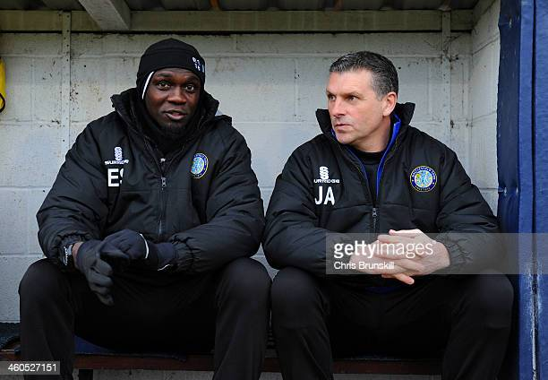Managers Efe Sodje and John Askey of Macclesfield Town during the Budweiser FA Cup Third Round match between Macclesfield Town and Sheffield...