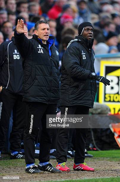 Managers Efe Sodje and John Askey of Macclesfield Town on the touchline during the Budweiser FA Cup Third Round match between Macclesfield Town and...