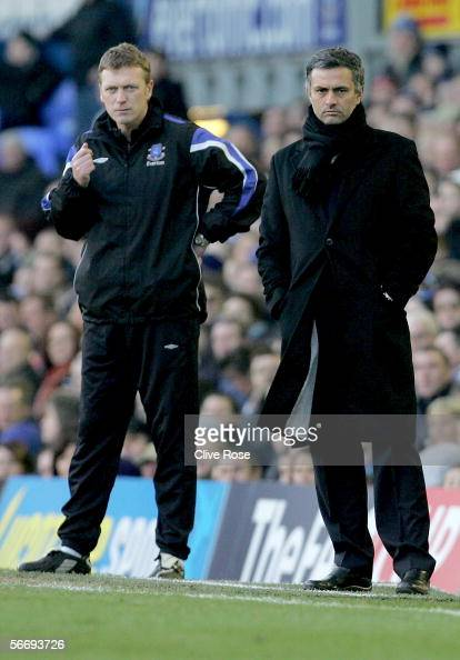 Managers Jose Mourinho of Chelsea and David Moyes of Everton look on during the FA Cup 4th Round match between Everton and Chelsea at Goodison Park...
