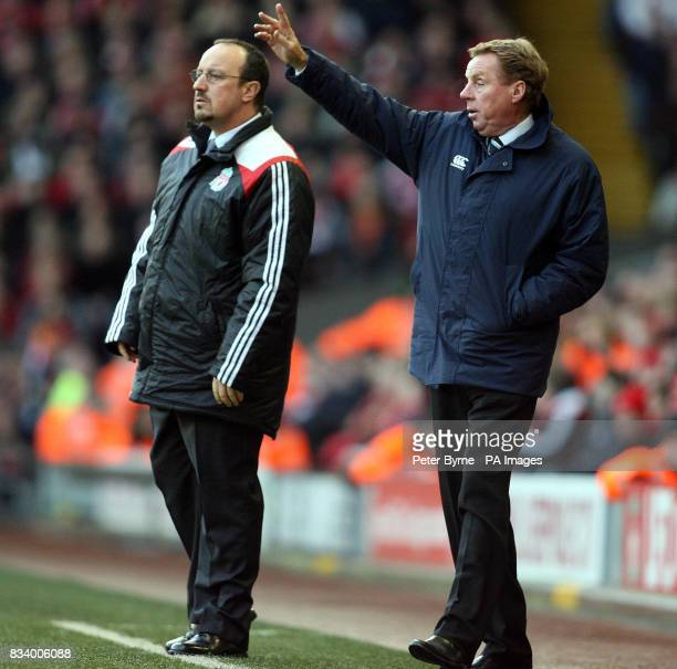 Managers Rafa Benitez and Harry Redknapp on the touchline during the Barclays Premier League match at Anfield Liverpool