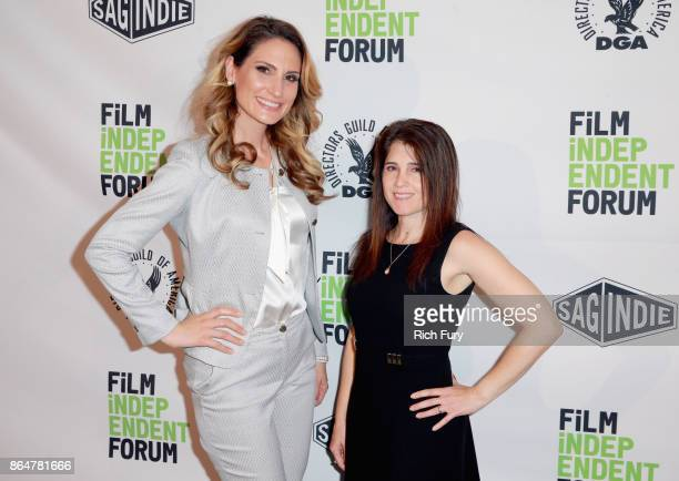 Managing attorney at D'Alessio Law Group Lorraine D'Alessio and Erica Stambler attend day 2 of the Film Independent Forum at DGA Theater on October...