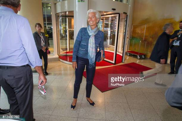 Managing Director and former French politician Christine Lagarde is seen at the Steinberger hotel during the G20 summit on 7 July 2017