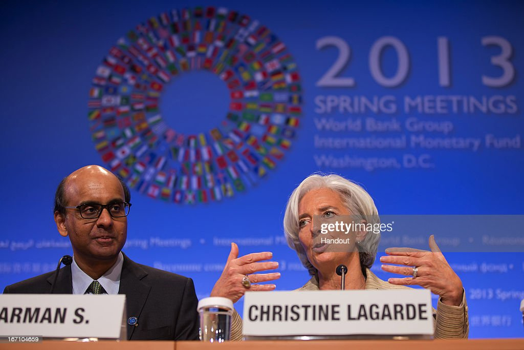 Managing Director Christine Lagarde (R) and Chairman of the IMFC Tharman Shanmugaratnam (L) hold a joint press coference after their meeting April 20, 2013 at the IMF Headquarters in Washington, DC. The IMF/World Bank Meetings are being held in Washington, DC.