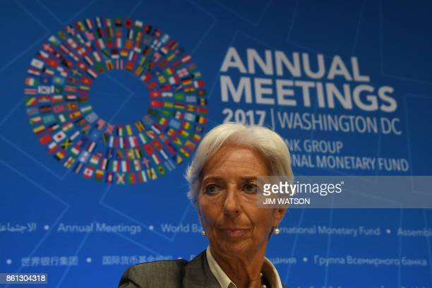 IMF Managing director Christine Lagarde attends a press conference at the World Bank and International Monetary Fund annual meeting in Washington DC...