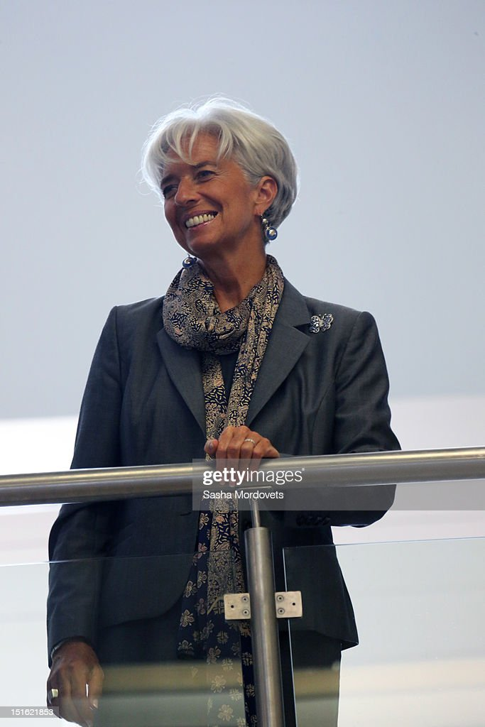 IMF Managing Director <a gi-track='captionPersonalityLinkClicked' href=/galleries/search?phrase=Christine+Lagarde&family=editorial&specificpeople=566337 ng-click='$event.stopPropagation()'>Christine Lagarde</a> attends a session of the Asian Pacific Economic Cooperation (APEC) Summit September 9, 2012 in Vladivostok, Russia. Leaders of APEC countries are gathered at Russky Island in Vladivostok to seek freer trade among member nations.