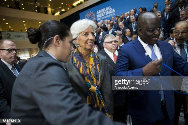 Managing Director Christine Lagarde leaves after the Board of Governors Family Photo during the 2017 IMF and World Bank Annual Meetings in Washington...