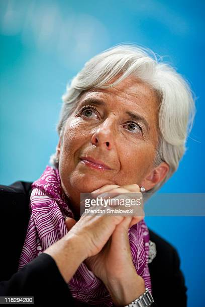 Managing Director Christine Lagarde listens to a question during a news briefing at the International Monetary Fund's headquarters July 6 2011 in...